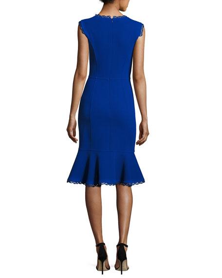 Sleeveless Lace-Trim Flounced Dress, Blue