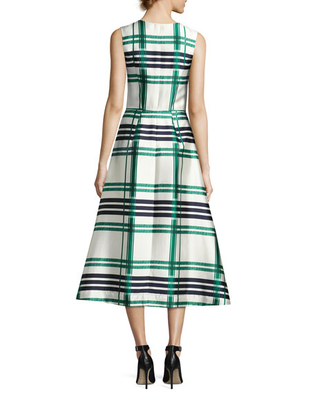 Sleeveless Plaid Sateen Midi Dress, Green