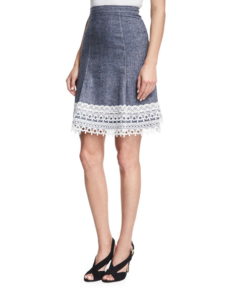 Stretch-Twill Denim Skirt, Navy