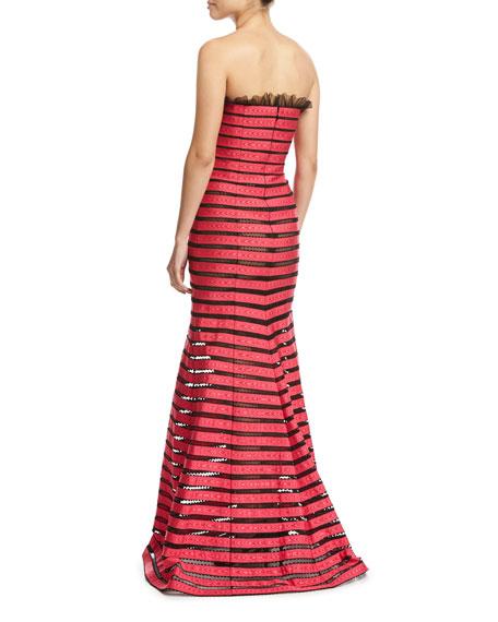 Strapless Striped Illusion Gown, Black Pattern