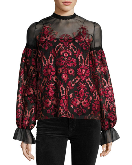 Geometric-Embroidered Tulle Blouse, Black Pattern