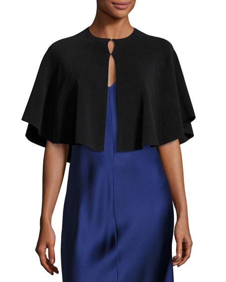 Cammy Short-Sleeve Capelet, Black