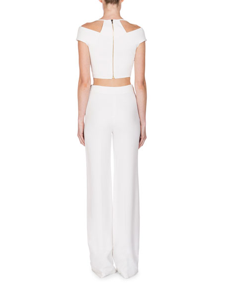 Cropped Off-Shoulder Halter Top, White