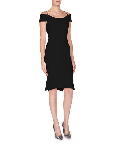 Off-Shoulder Halter Dress, Black