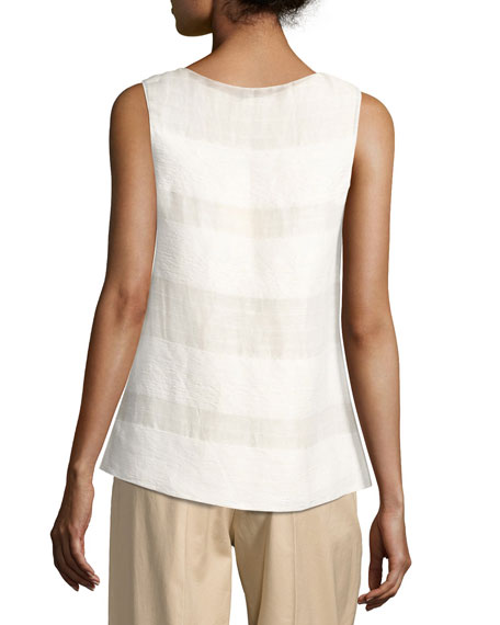 Mikita Sleeveless Popover Top, Light Beige