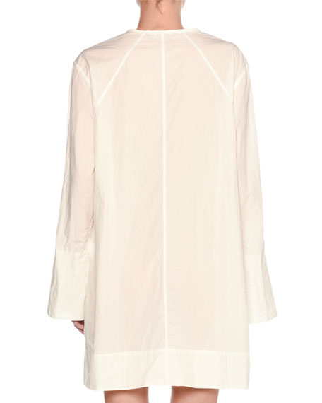 Airy Poplin Long-Sleeve Dress, White