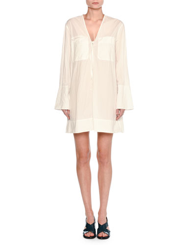 Airy Poplin Long-Sleeve Dress, White