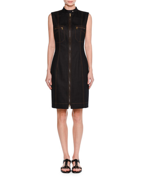 Sleeveless Zip-Front Denim Dress, Dark Navy