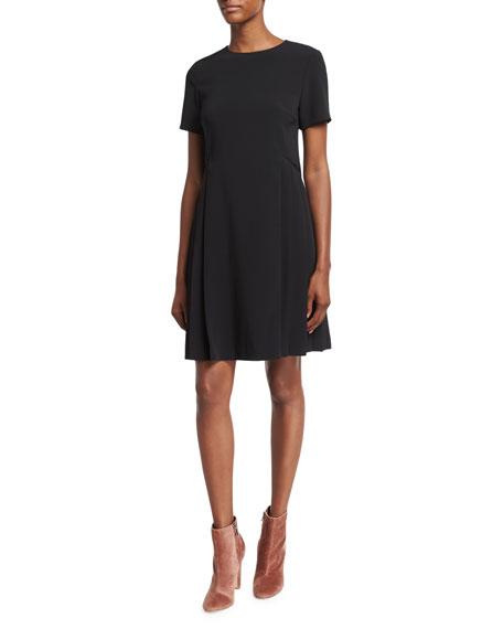 Short-Sleeve Mini Dress, Black