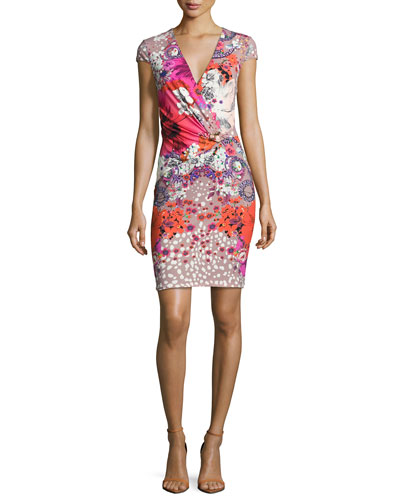 Garden of Eden Floral-Print Cap-Sleeve Minidress