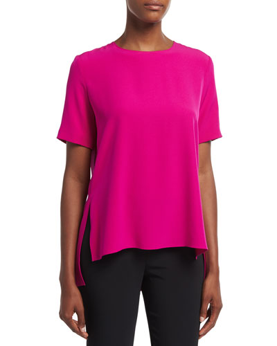 Short-Sleeve Crepe T-Shirt, Fuchsia
