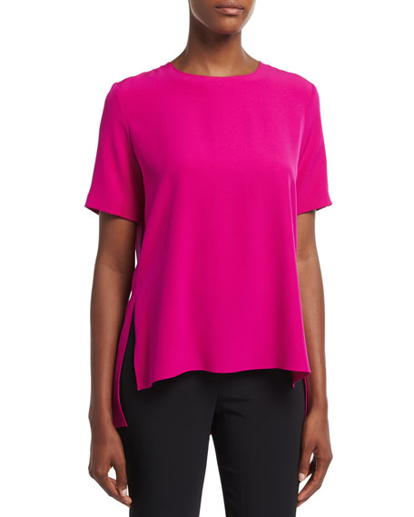 Short-Sleeve Crepe T-Shirt, Fuchsia