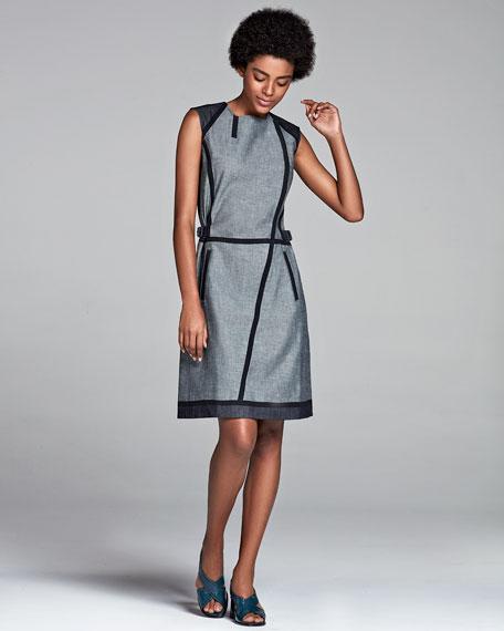 Sleeveless Taped Denim Dress, Navy