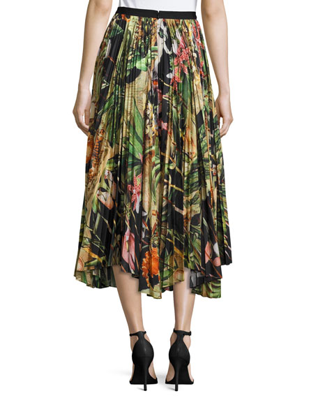 Pleated Jungle-Print Skirt, Black Pattern