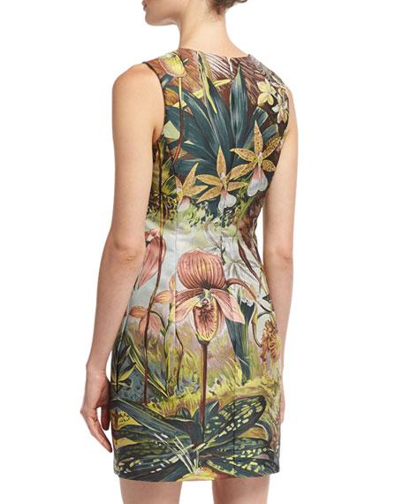 Sleeveless Jungle-Print Mini Dress, Multi