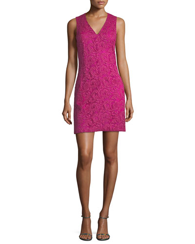 Sleeveless V-Neck Lace Mini Dress