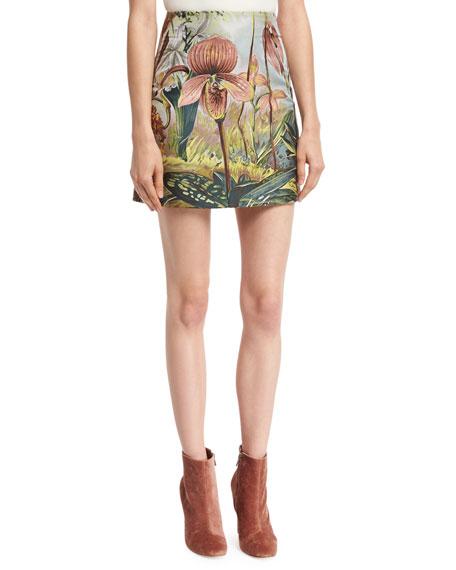 Jungle-Print Mini Skirt, Multi