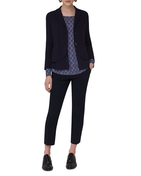 Layered Wool-Blend Blazer, Navy