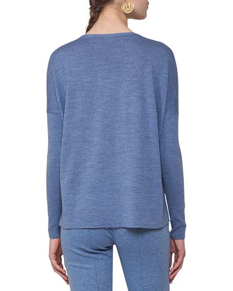 V-Neck Wool Pullover Top, Navy