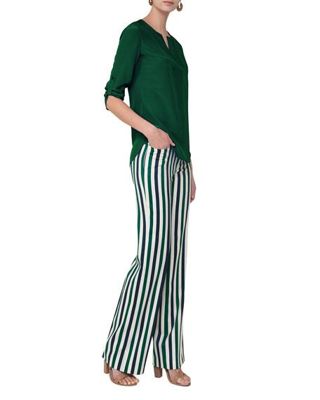 Mikka Striped Wide-Leg Pants, Green Pattern