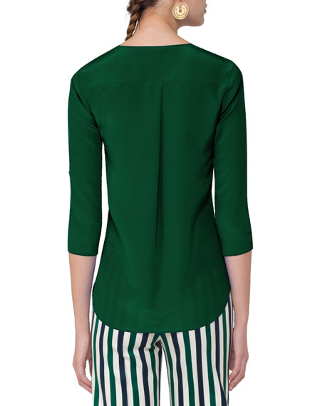 Split-Neck Silk Blouse, Emerald
