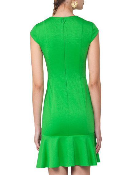 Cap-Sleeve Fluted Shift Dress, Lime