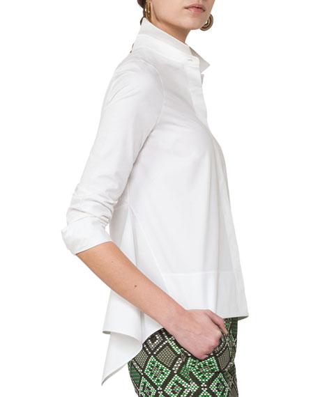 Long-Sleeve Cotton Blouse w/Peplum, Cream