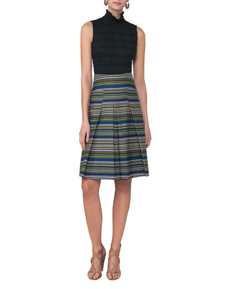 Striped Pleat-Front A-Line Skirt, Multi