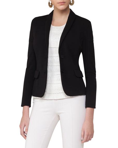 Notch-Collar Two-Button Blazer, Black