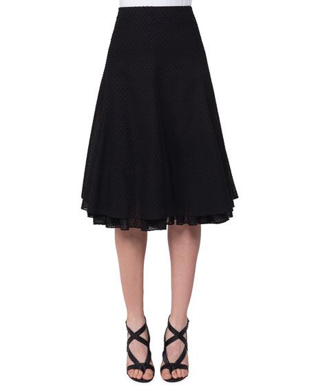 Swiss Dot A-Line Skirt, Black