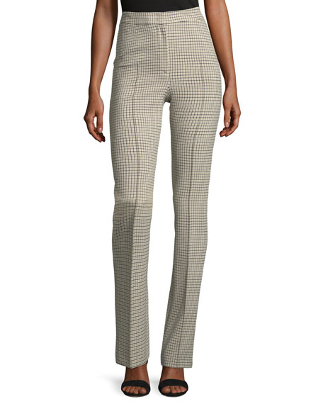 Claire Plaid Straight-Leg Pants