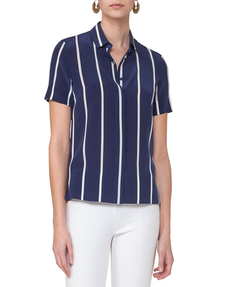 Striped Silk Short-Sleeve Blouse, Blue