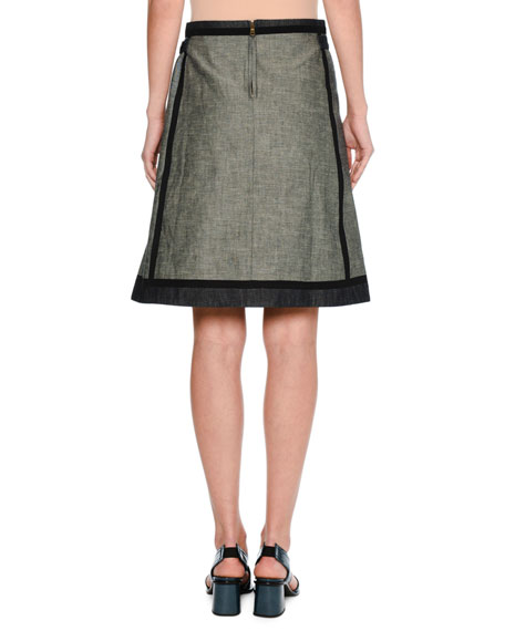 Taped Denim A-Line Skirt, Navy