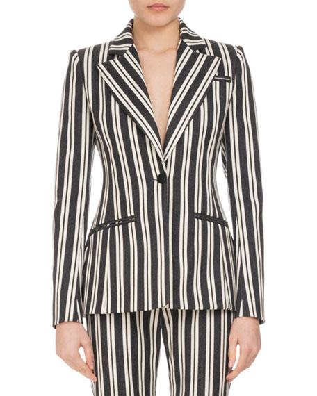 Acacia Striped One-Button Jacket, Multi