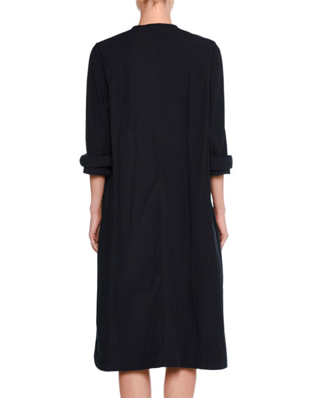 Airy Long-Sleeve Tie-Front Dress, Navy