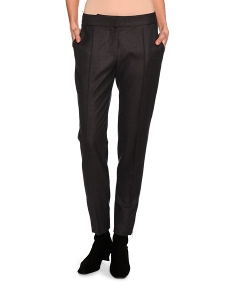 Vivan Skinny Wool Zip-Cuff Pants, Dark Gray