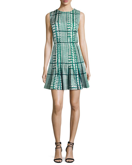 Sleeveless Houndstooth Fit & Flare Dress, White/Green