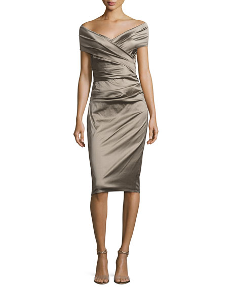 Nocky Off-Shoulder Cocktail Dress, Beige