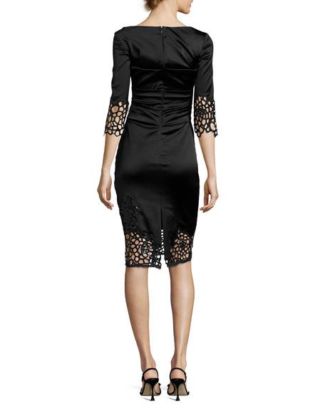 Lovelace Stretch-Satin 3/4-Sleeve Dress, Black