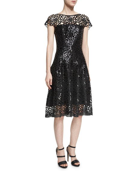 Noix Chrysanthemum Sequined Fit & Flare Cocktail Dress, Black