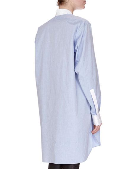 Asymmetric Two-Tone Poplin Blouse, Blue/White