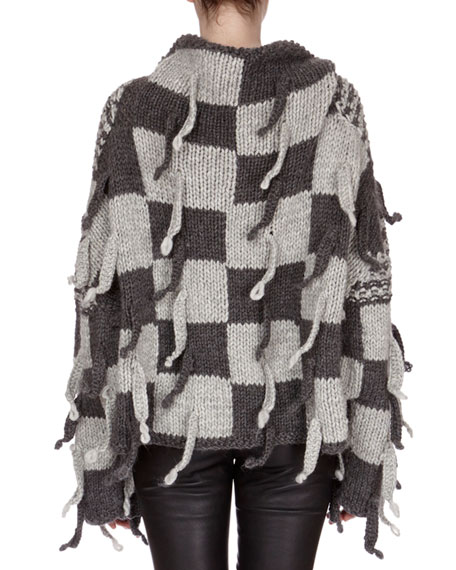 Chunky-Knit Checkerboard Sweater, Gray