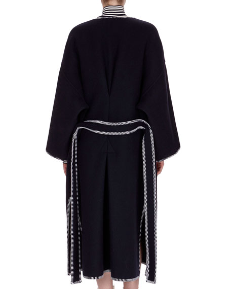 Long Patch-Pocket Wool Coat, Navy
