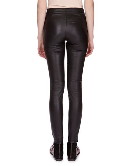 Napa Leather Leggings, Black
