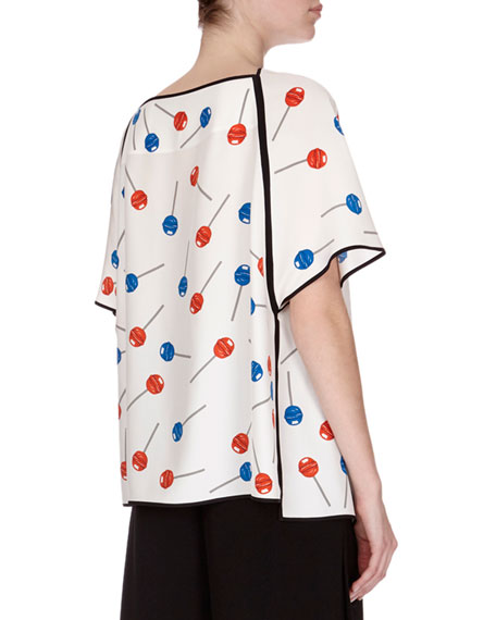 Lollipop-Print Popover Top, White Pattern