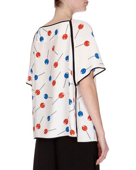Lollipop-Print Popover Top, White Pattern