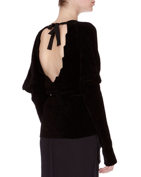 Knit Puff-Sleeve Open-Back Sweater, Black