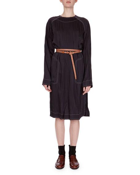 Topstitched Tunic Dress w/Belt