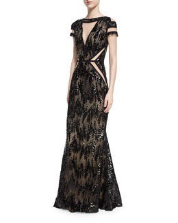 Northway Sequined Illusion Gown, Black