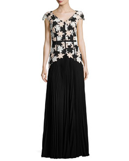 Nonee Cap-Sleeve Lace Combo Gown, Black